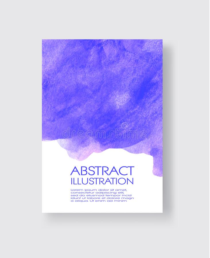 Free Vector Card With Watercolor Blot. Abstract Cards With Hand Drawn Blots Stock Photos - 170551163