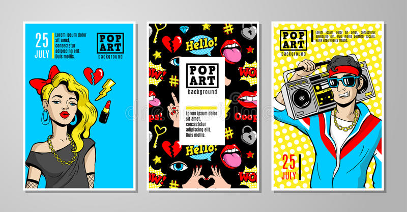 Vector cards and banners in 80s-90s comic style. stock illustration