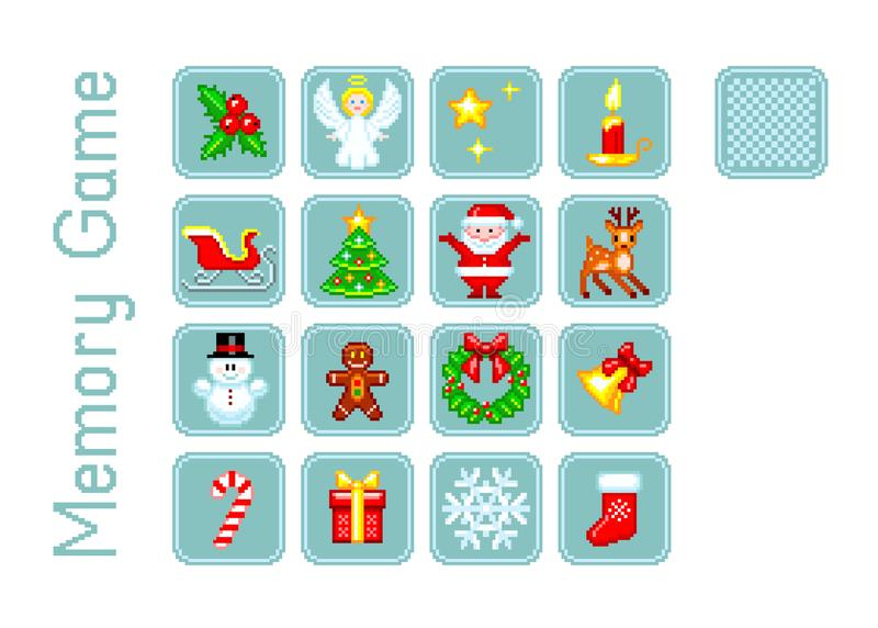 Vector cards for Memory game with Christmas elements in Pixel-Art style. Multiple game levels vector illustration