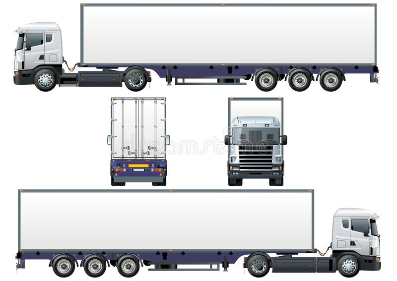 Vector cargo semi-truck stock illustration