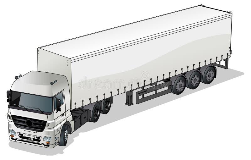 Vector cargo semi-truck royalty free illustration