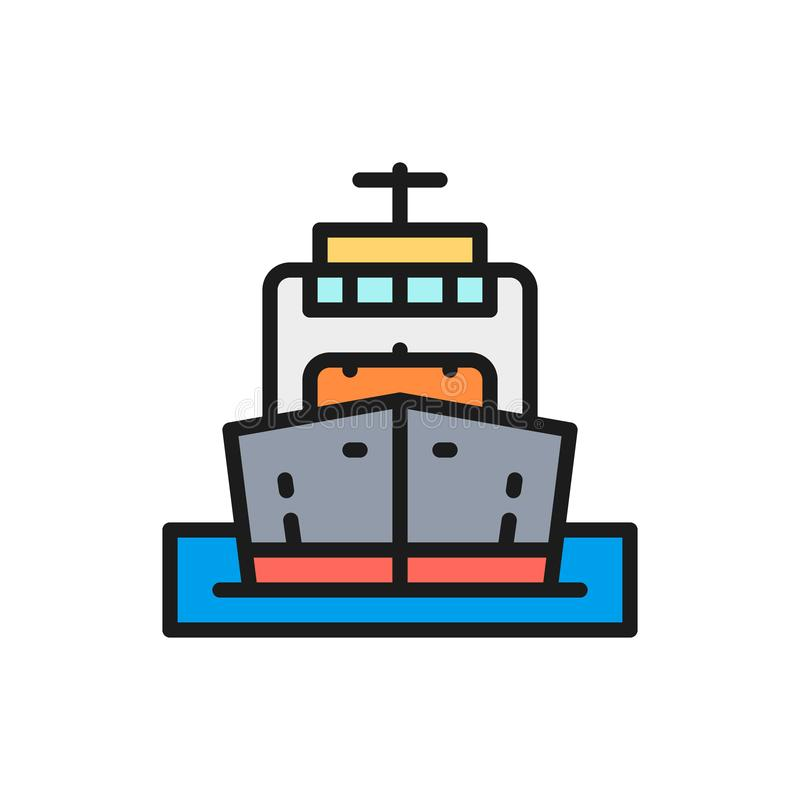 Vector cargo ship, boat, oil transportation, cruise flat color line icon. royalty free illustration