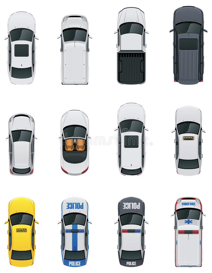 Vector cars set. Set of the detailed top view cars stock illustration