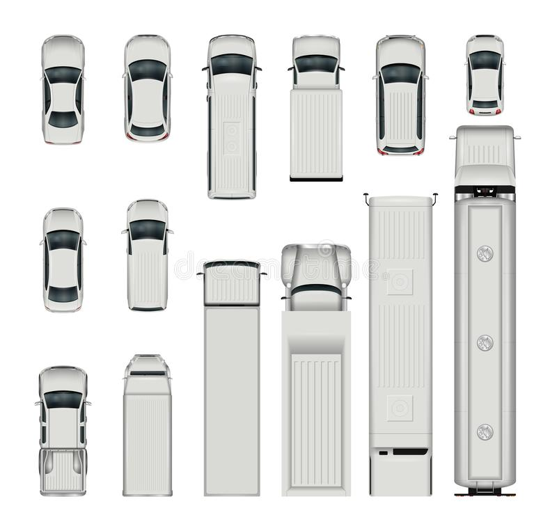 Vector cars top view. Isolated realistic vehicles on white background royalty free illustration