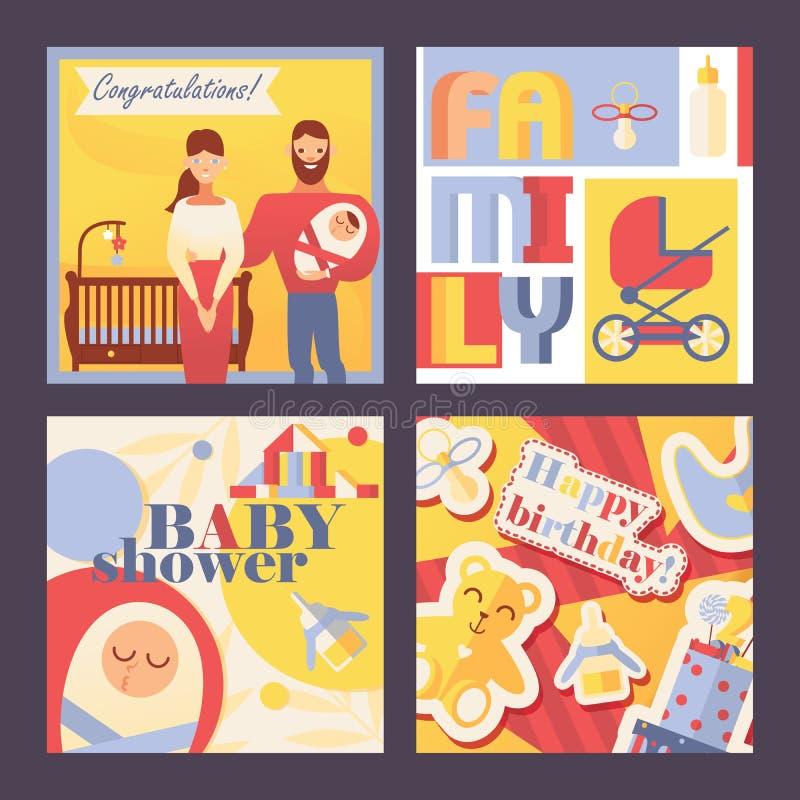 Vector cartões quadrados com família e crianças para o convite e a comemoração de eventos das crianças aniversário, da festa do b ilustração stock