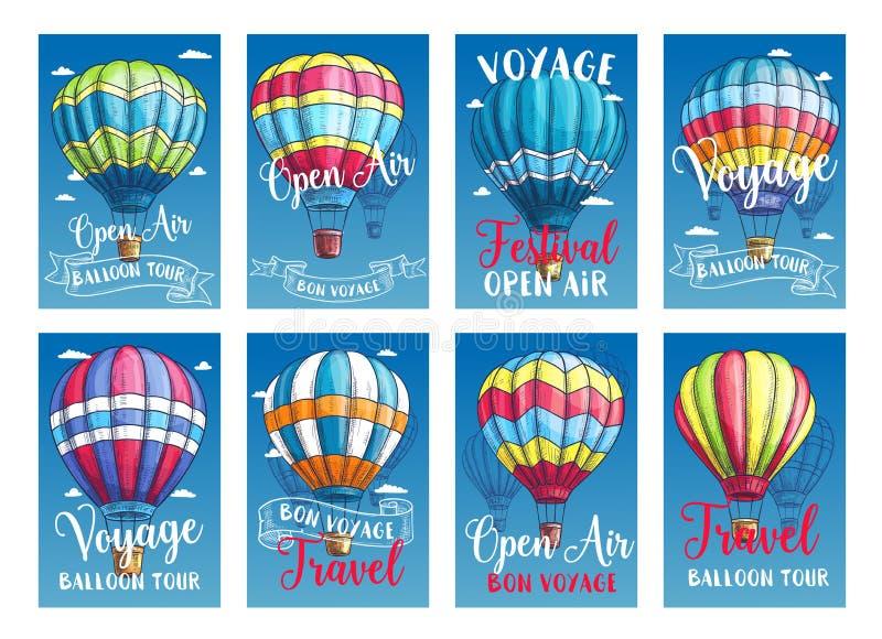 Vector cartazes ou excursão da viagem do balão de ar quente dos cartões ilustração stock