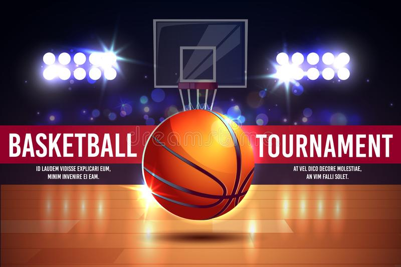 Vector cartoon ad poster, banner with basketball tournament stock illustration