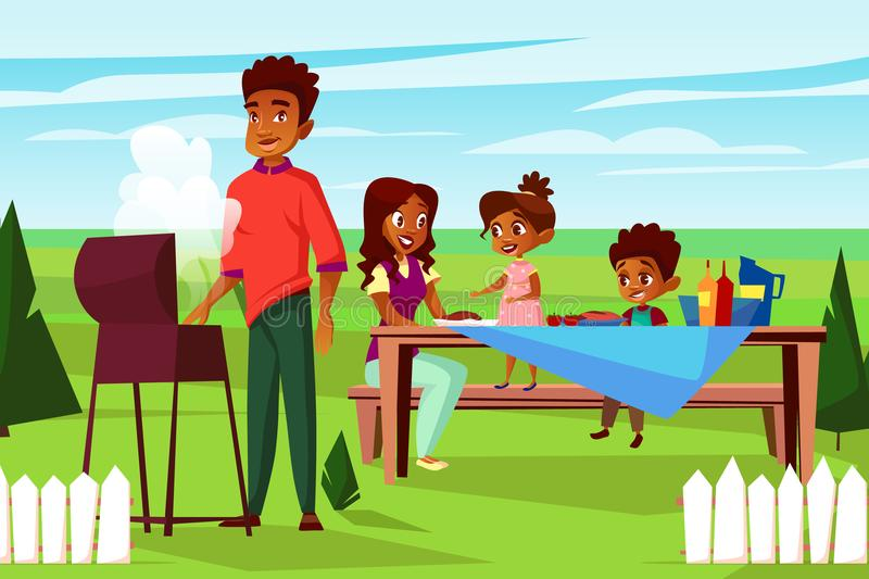 Vector cartoon african family at picnic bbq party. Vector cartoon african family at outdoor bbq picnic party at weekend. Cheerful adult couple - mother and royalty free illustration