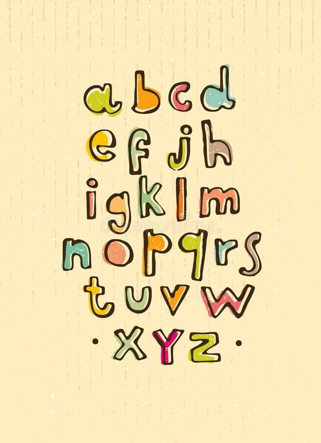 Vector cartoon alphabet on cardboard background. stock illustration