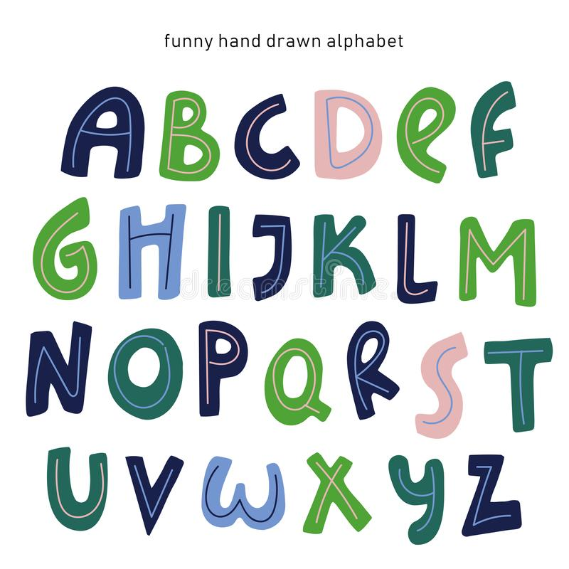 Vector cartoon alphabet on white background vector illustration