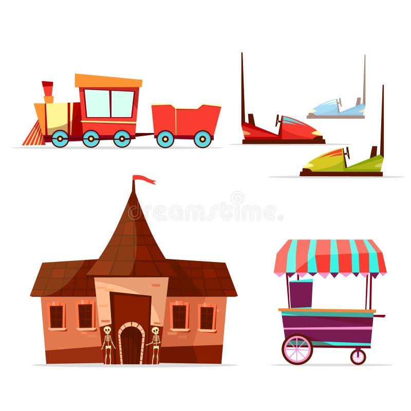 Vector cartoon amusement park attractions set. royalty free illustration