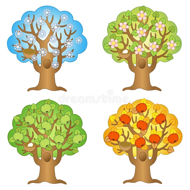 Free Vector Cartoon Apple Tree On A Different Seasons. Autumn, Winter, Summer, Spring Stock Images - 148443094
