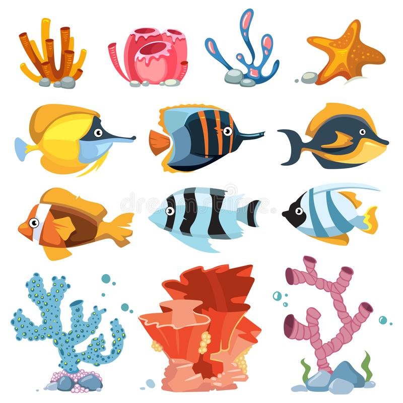 Vector cartoon aquarium decor objects - underwater plants, bright fish. Color coral and fish underwater illustration royalty free illustration