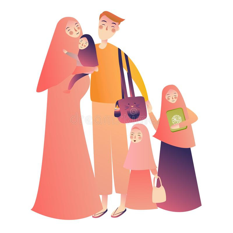 Cartoon arab family characters. Happy muslim mother holding infant baby, teen girl children. People in national clothing stock illustration