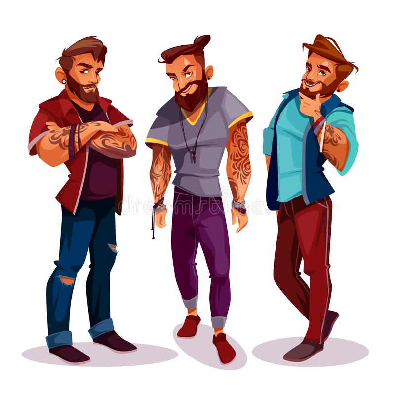 Vector cartoon Arab hipsters with tattoos, trendy clothing vector illustration