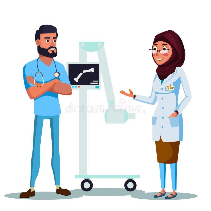 Vector cartoon arab muslim doctors xray machine vector illustration