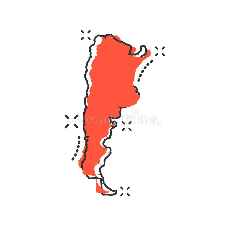 Vector cartoon Argentina map icon in comic style. Argentina sign. Illustration pictogram. Cartography map business splash effect concept stock illustration