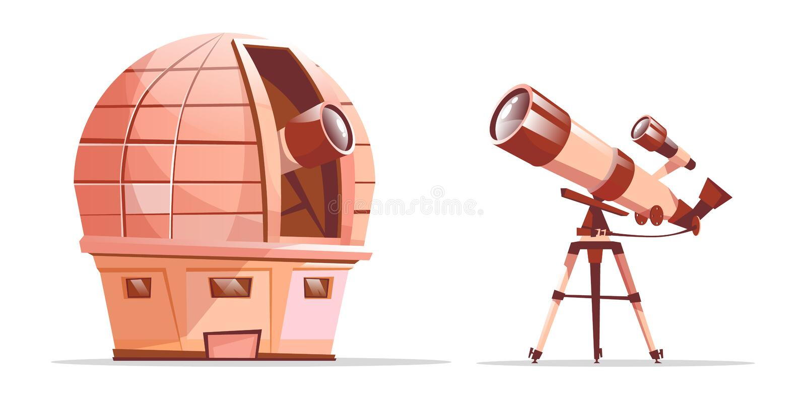 Vector telescope on tripod, astronomy observatory. Vector cartoon astronomy discovery equipment set. Observatory dome with radio telescope and telescope on stock illustration