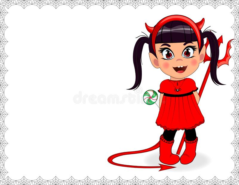 Vector cartoon baby girl in red devil imp costume framed with spiderweb on white background stock illustration
