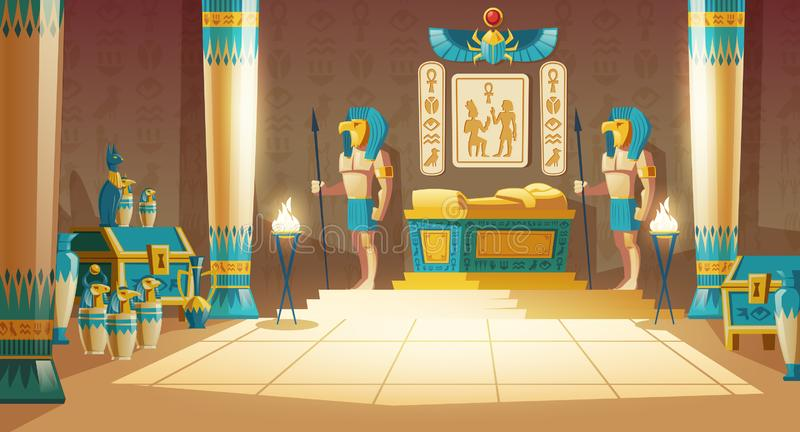 Vector cartoon background, ancient pharaoh tomb. Vector cartoon pharaoh tomb with golden sarcophagus, statues of gods with animal heads, columns, symbols and vector illustration