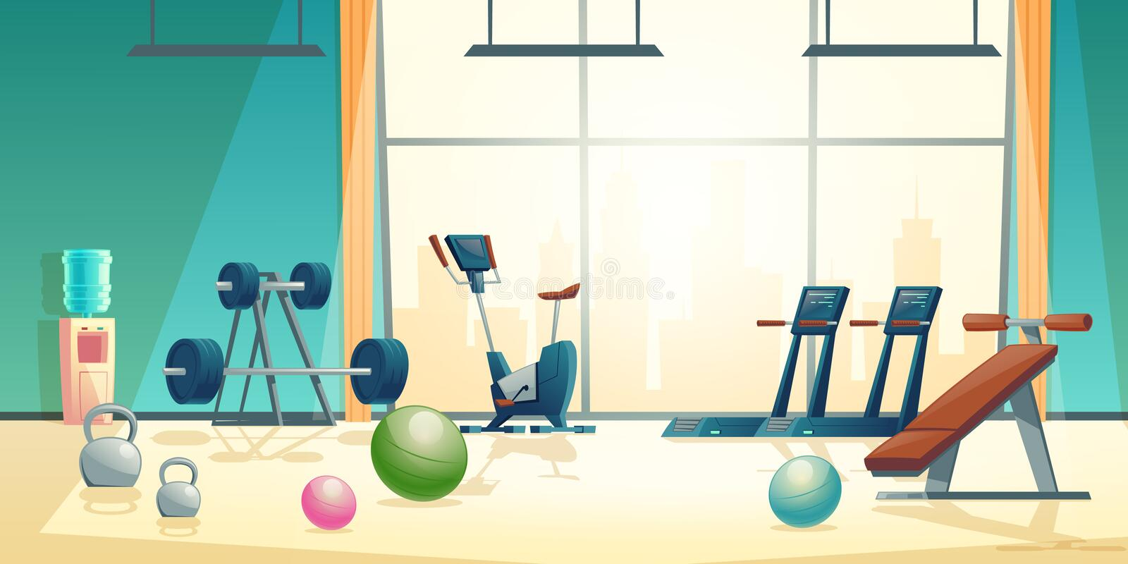 Vector gym background with treadmill, bike training vector illustration