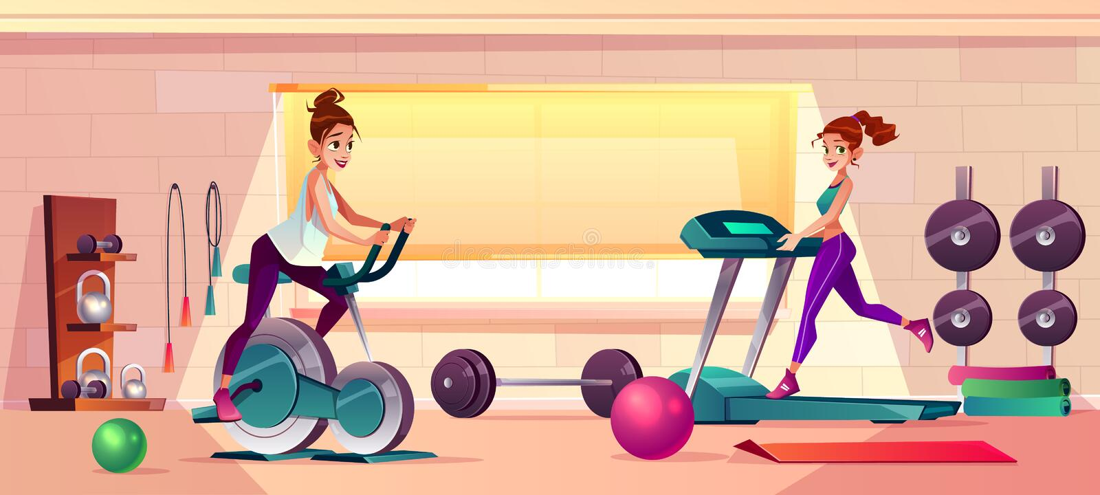 Vector gym background with treadmill, bike training. Vector cartoon background of gym with girls doing fitness. Women on treadmill and training bike. Sport royalty free illustration