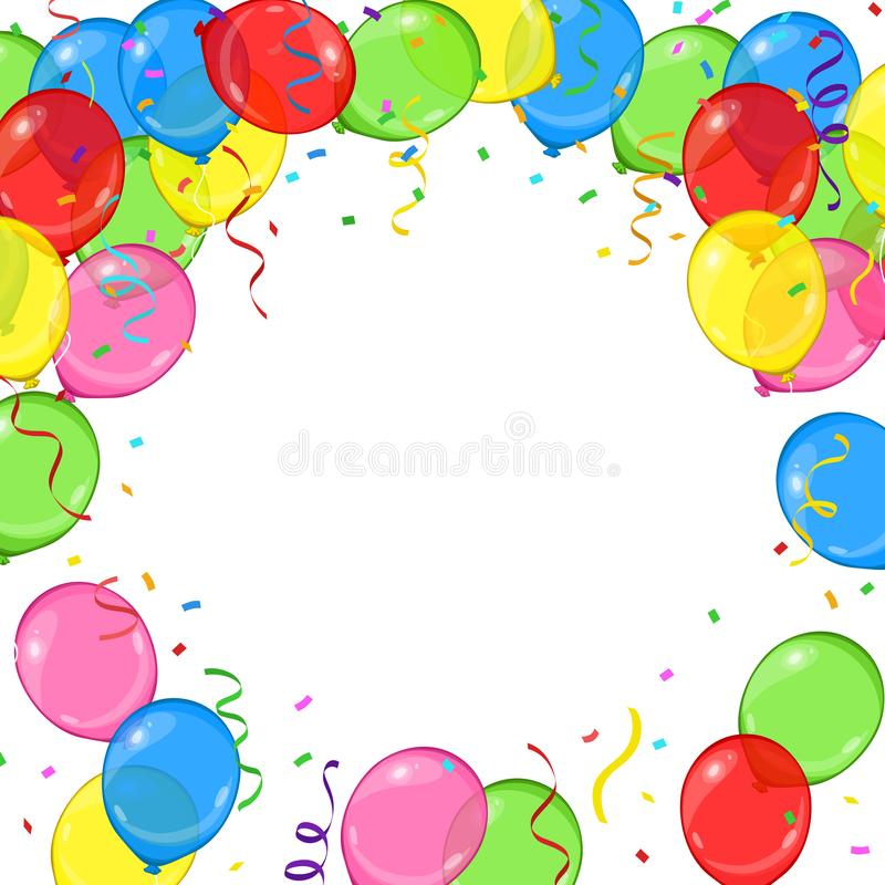 Vector cartoon balloons, streamers and confetti frame for your birthday card or party invitation on white background royalty free illustration