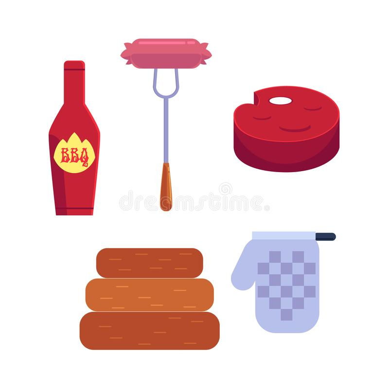 Vector cartoon barbecue, bbq grill symbols set. Vector cartoon barbecue, bbq symbol set. Sausage at fork, ketchup in red bottle, meat stake and ketchen glove stock illustration