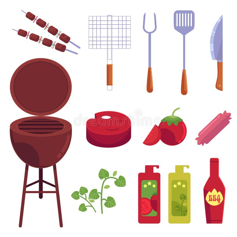 Vector cartoon barbecue, bbq grill symbols set. Vector cartoon barbecue, bbq symbols set. Sausages meat at skewer, ketchup mustard in bottles, pepper, tomato royalty free illustration