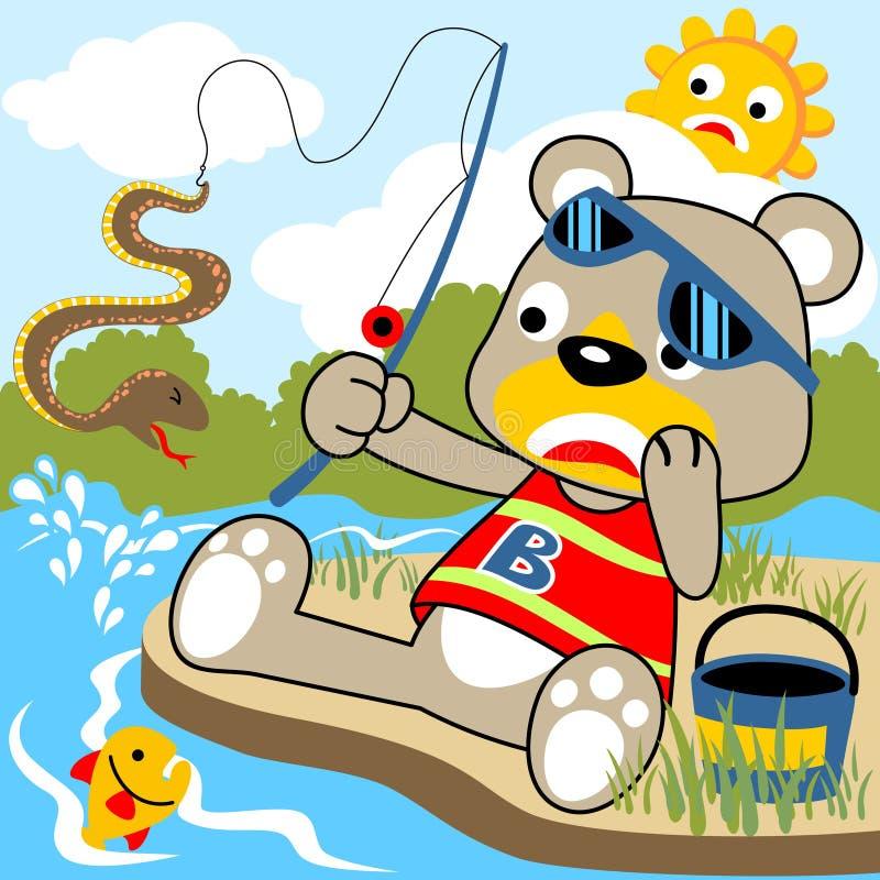 Vector cartoon bear fishing time stock image