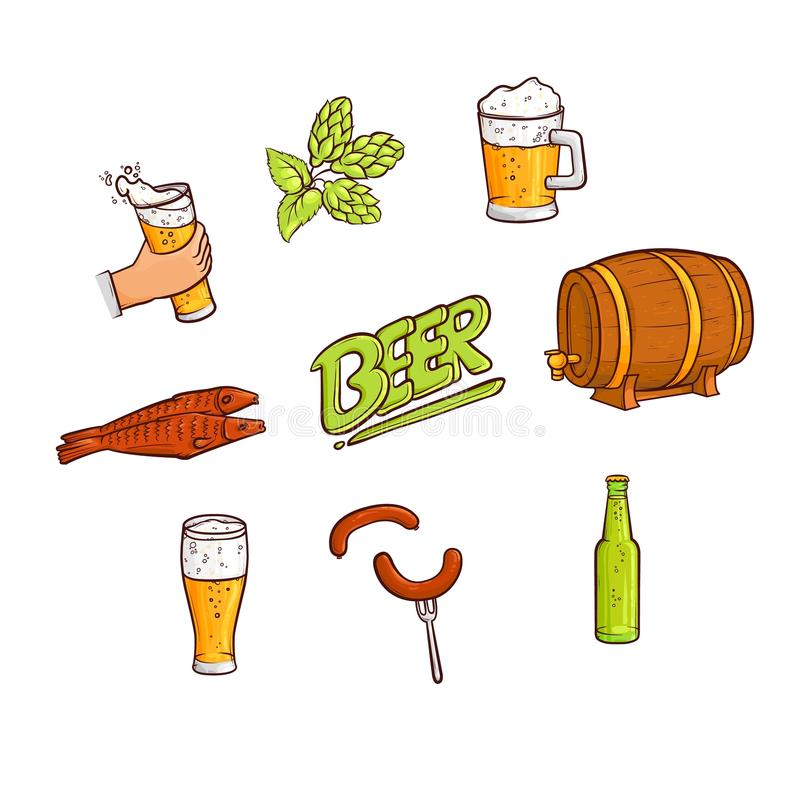 Vector Cartoon Beer Symbols Icon Set Stock Vector Illustration Of