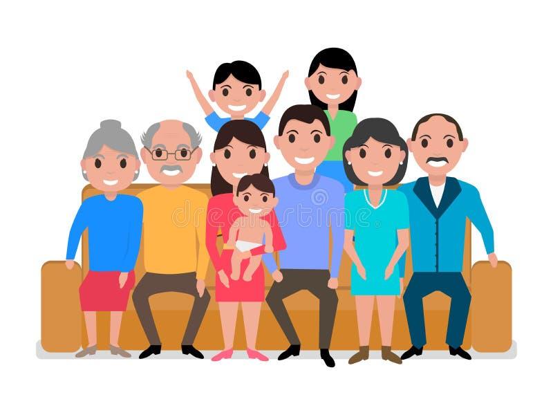 Vector cartoon big happy family on the sofa stock illustration