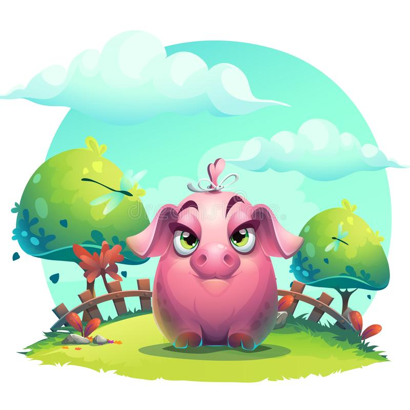 Vector cartoon big piggy girl vector illustration