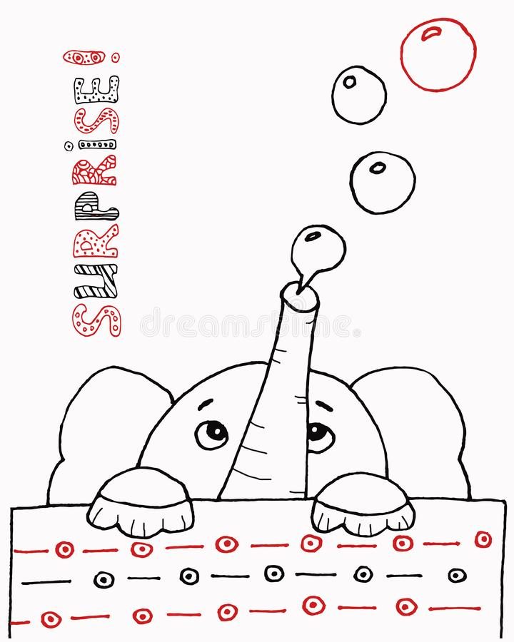 Vector cartoon big set of cute doodle elephant. Perfect for postcard, birthday, baby book, children room. Children`s royalty free illustration