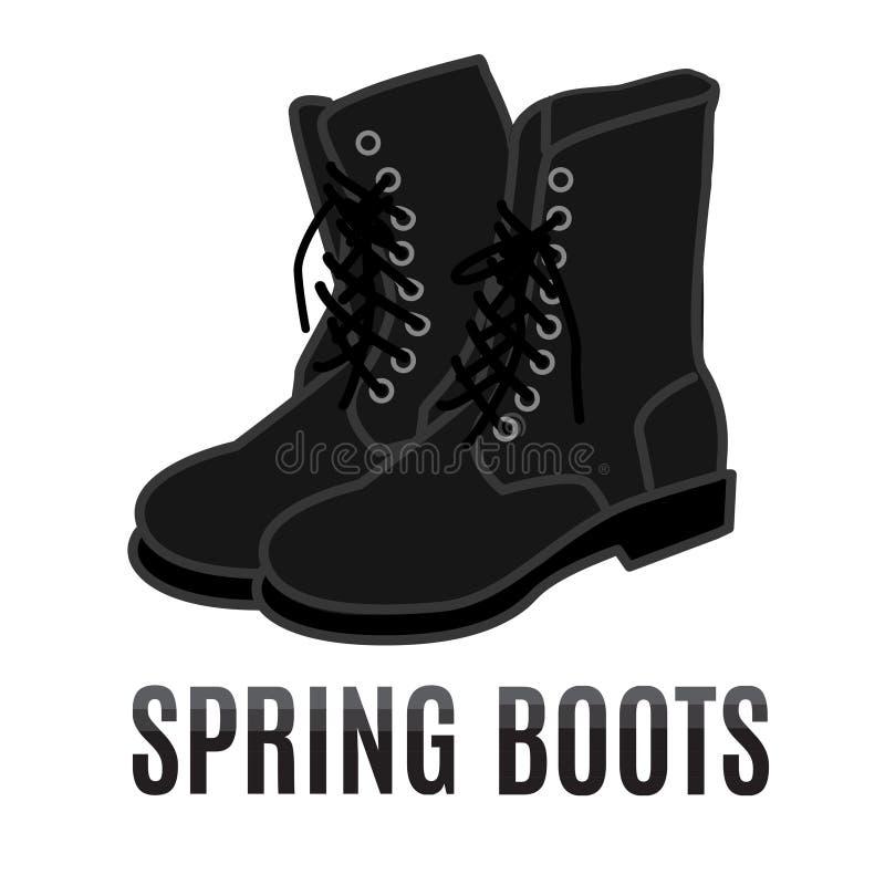 Vector cartoon black army boots royalty free illustration