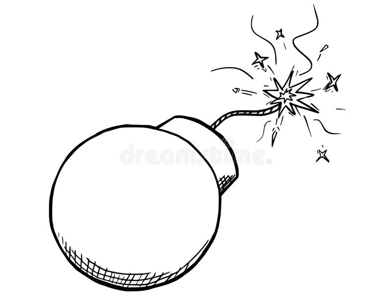 Vector Cartoon of Bomb With Fuse Burning stock illustration