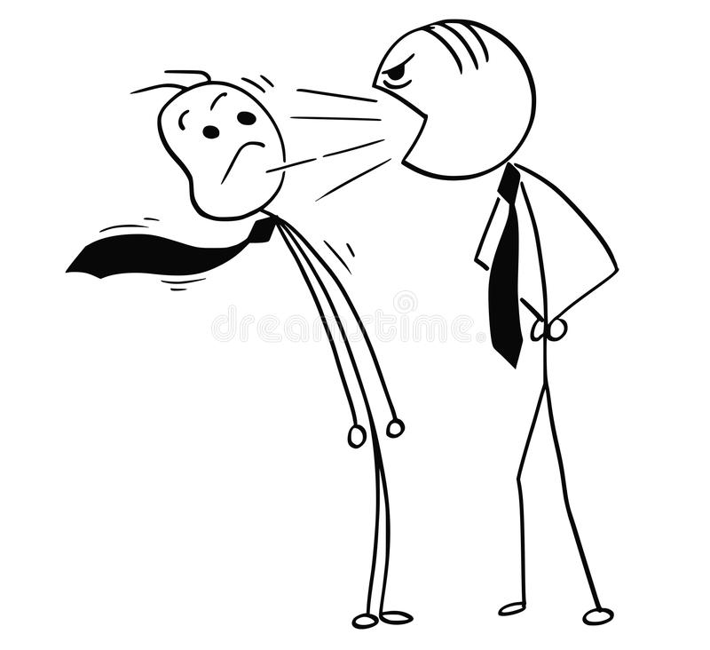Vector Cartoon of Boss Yelling at Office Worker. Cartoon stick man drawing illustration of boss yelling screaming at male office worker vector illustration
