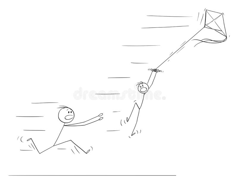 Vector Cartoon of Boy Flying Kite and Flying Away in Strong Wind.Father Is Running to Save Him. Vector cartoon stick figure drawing conceptual illustration of stock illustration