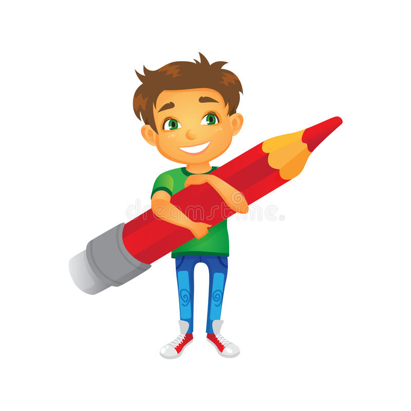 Free Vector Cartoon Boy Keeping Pencil In Hand Royalty Free Stock Images - 97963189