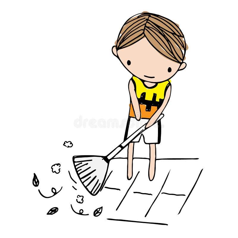 Vector Of Cartoon Boy Sweeping Leaves On Floor Stock