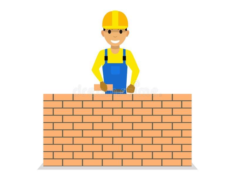 Vector cartoon bricklayer is building a brick wall. Vector illustration of a cartoon male bricklayer is building a brick wall. Isolated white background royalty free illustration