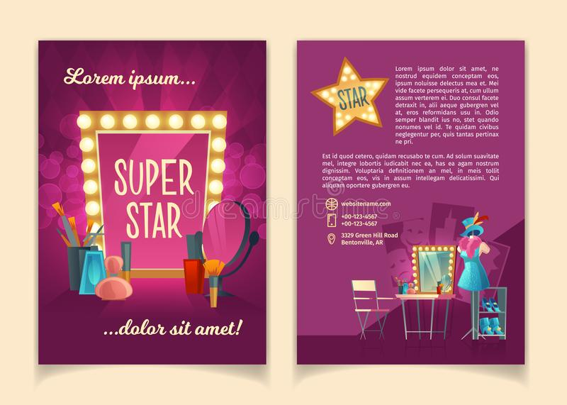 Vector brochure for advertising concert tours. Vector cartoon brochure for advertising concert tours of famous artists, theater groups and circus troupes vector illustration