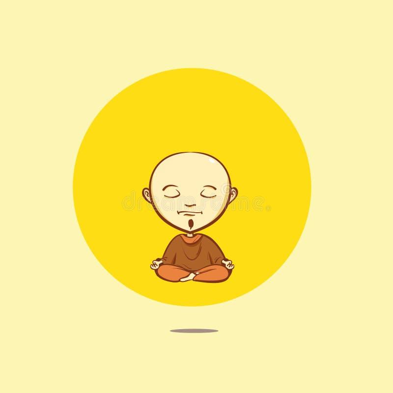 Vector cartoon buddhist monk stock illustration