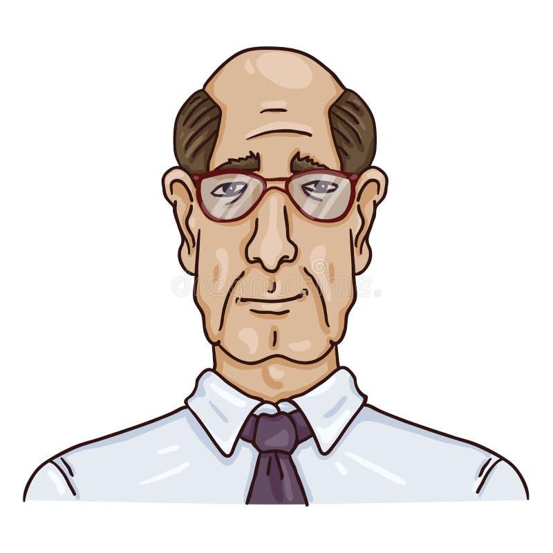 Vector Cartoon Business Avatar - Bald Old Man in Shirt and Eyeglasses vector illustration