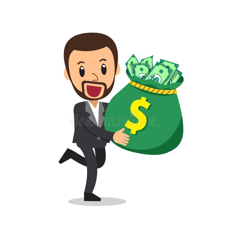 Vector cartoon businessman carrying big money bag vector illustration