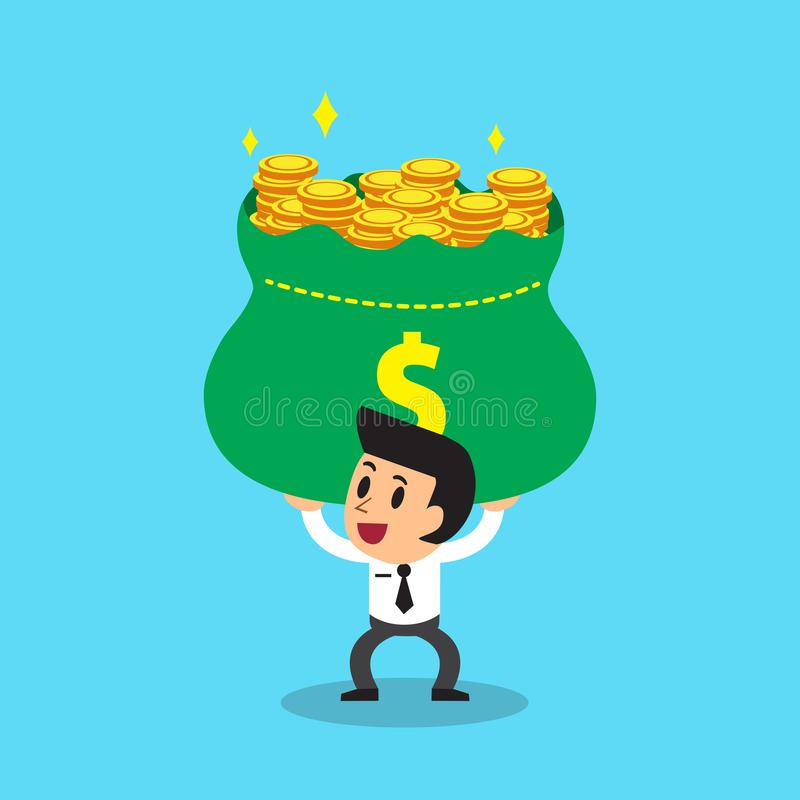 Vector cartoon businessman carrying big money bag royalty free illustration