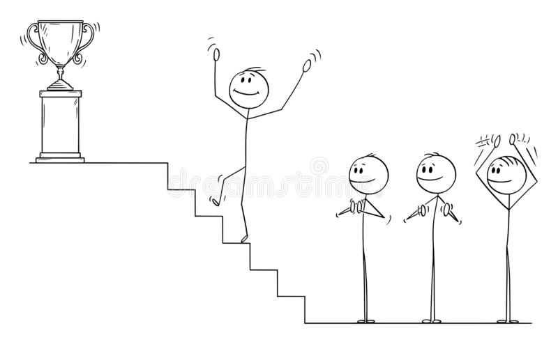 Vector Cartoon of Businessman Climbing Up the Stairs to for the Winner`s Trophy, Business Team is Applauding royalty free illustration