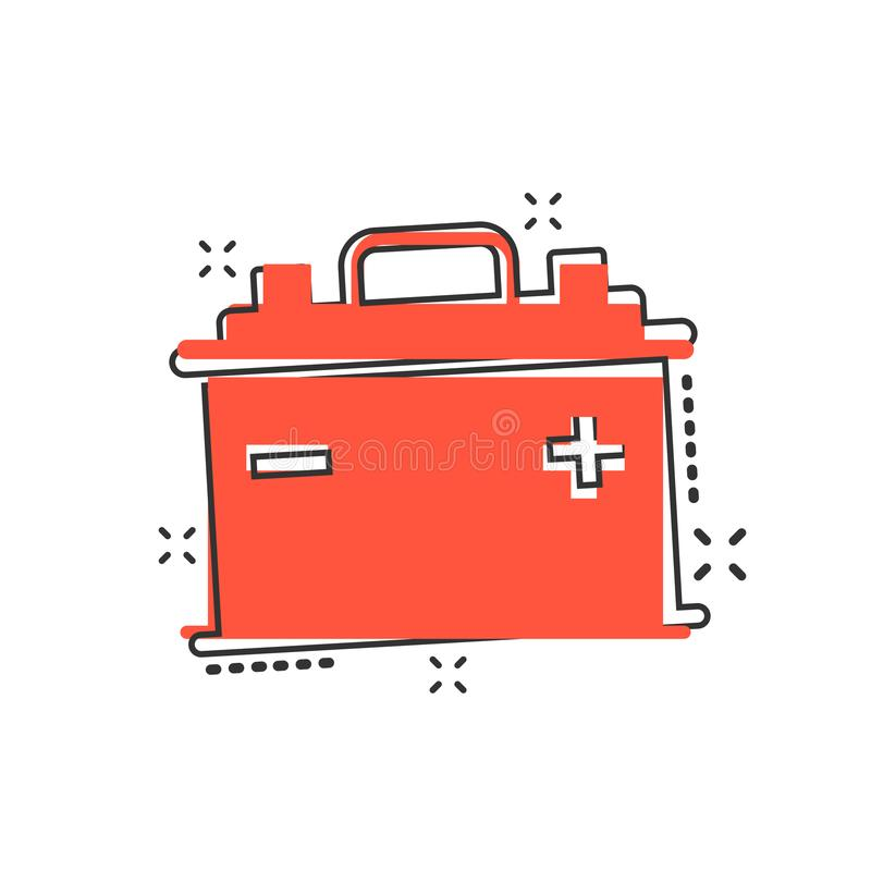 Vector cartoon car battery sign icon in comic style. Energy power sign illustration pictogram. Auto accumulator business splash e. Ffect concept royalty free illustration