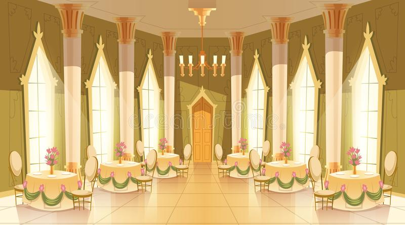 Vector cartoon castle hall, ballroom for dancing stock illustration