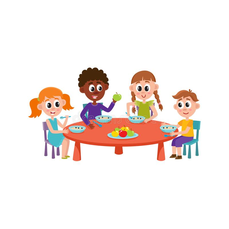 Eating Table Cartoon: Vector Children Sitting At Table Eating At Camp Stock